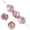 Fire Polished 10mm Round Two Way Cut Strung Crystal/Gold Luster/Light Amethyst
